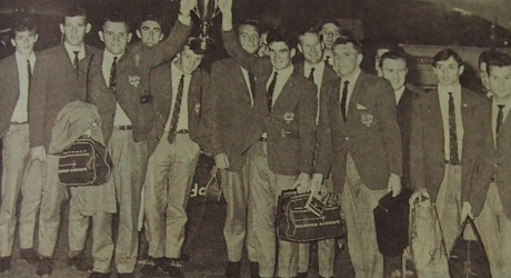 The Australian team return with the trophy from the Independence Day tournament in Vietnam. Source: Soccer World, 1 December 1967, p. 1.