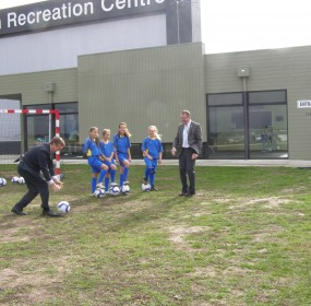 The launch of a plan for a football pitch for the first junior soccer team in Bannockburn, Victoria, brings out the politicians for a photo opportunity.
