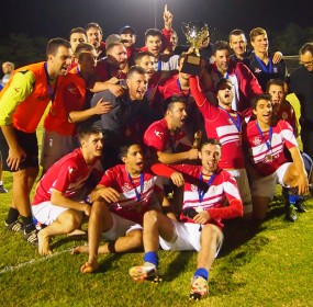 Michael Anderson leads his North Geelong in their Diversity Cup win celebrations