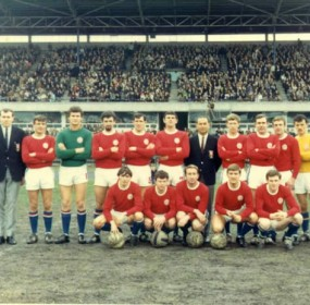 Croatia at Olympic Park, Melbourne, 1968. Back row, left to right: Frank Burin (Secretary), Horst Rau (Captain), Mirko Kovacek, Billy McArthur, Frank Bot, Hugh Gunn, Mijo Kiss (Coach), Jimmy Mackay, Duncan Mackay, Peter Davies, Zlatko Balic (Reserve Goalkeeper), Ivan Mustapic (Property Steward). Front row: Billy Vojtek, Brian Adlam, Alfred Glaser, Hammy McMeechan, Billy McIntyre.