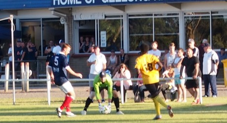 Geelong Rangers keeper Sam Stonily in possession.